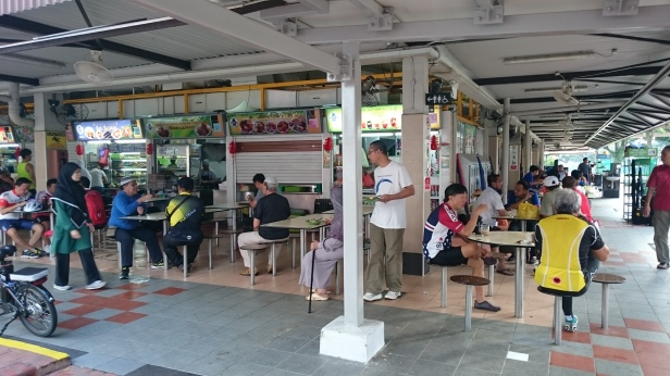 Changi Village Food Court bike rest point.