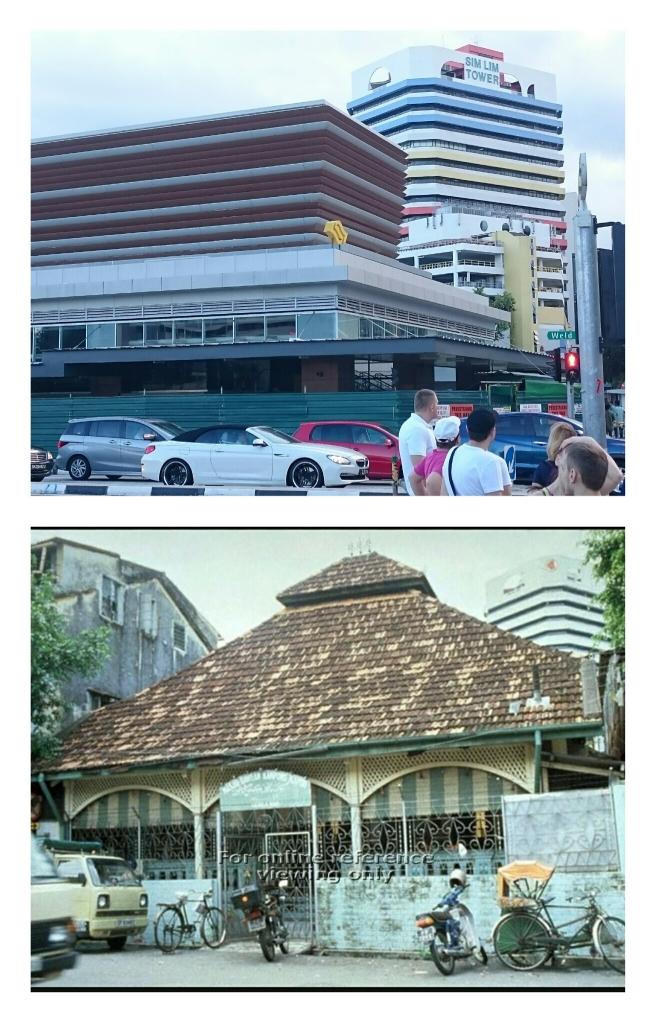 Foto bawah Masjid Kampung Bawean sebelum 1980. Foto atas lokasi sekarang yang sudah jadi stasion subway MRT